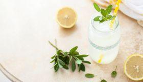 Fresh lemonade in jar